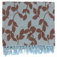 "Adorned with fringed trim and leaf motif, this timeless sky blue and brown throw is stylish draped over your sofa or at the foot of your bed.     Product: ThrowConstruction Material: CottonColor: Sky blue and brownFeatures: Made in IndiaDimensions: 50"" x 70"" Cleaning and Care: Hand wash. Lay flat to dry."