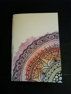 Illustrated notebook cover, This would be a wonderful zenbroidery design. Diy notebook A6 on recycled paper. Rainbow