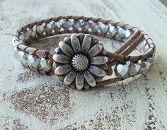 Silver Leather Wrap Bracelet, Daisy Bracelet, Boho Chic, Boho Glam, Bohemian Style Jewelry, Beaded Wrap Bracelet, Cowigirl Jewelry, Western on Etsy, $30.00