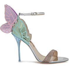 Sophia Webster Chiara Metallic Winged Leather Sandals - Size 3 ($610) ❤ liked on Polyvore featuring shoes, sandals, strappy high heel sandals, strappy sandals, open toe sandals, embellished sandals and multi color high heel sandals