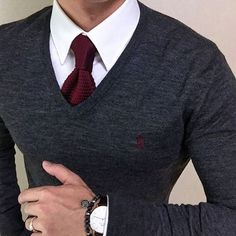 grey sweater, white shirt