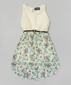 This Ivory & Mint Floral Chiffon Belted Hi-Low Dress by Btween is perfect! #zulilyfinds I want this sooooooo bad
