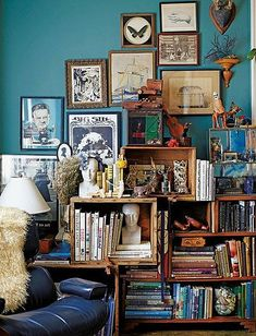 THIS. in the music nook. filled with our 7 biographies of kurt cobain and other relevant literature - love wall color & the way their collections are easily displayed. Colors - the blues don't have to match, make it imperfect