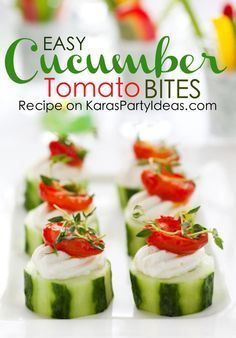 Amazing and easy appetizer! Cucumber cream cheese tomato bites! Recipe via Kara's Party Ideas | KarasPartyIdeas.com #cucumberbites #appetizer