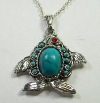 Vintage Turquoise Ruby Red Eye Fish Pendant Necklace Chain 20 long