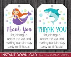 Sharks and Mermaids Birthday Favor Tags - Boy and Girl Thank You Party Favor Tags - Printable Digital File - INSTANT DOWNLOAD