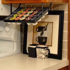 Are your K-Cups taking up too much space on the counter or in the cabinet? Check out these Coffee Keepers that store the K-Cups under the cabinet to avoid taking up usable space!