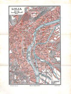 1920s Liege City Map Belgium