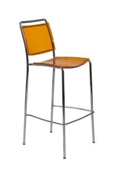 Stefie-B Pro Bar Chair Orange/Chrome (set of 2)