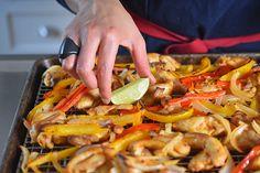 Sheet Pan Chicken Fajitas + Avocado Crema by Michelle Tam http://nomnompaleo.com