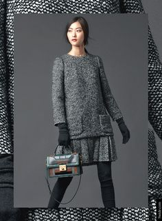 What to Wear at Work: Dolce&Gabbana FW 2014-2015 pinhead tweed tunic with matching pleated skirt.