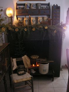 Hearthside Have to re pin this because of the Monmouth, IL crock on the hearth.