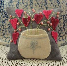 Cute wool applique pincushion by marian
