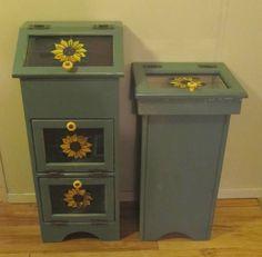 Sunflower Themed Wooden Kitchen Trash Can Matching Vegetable Bin Cute