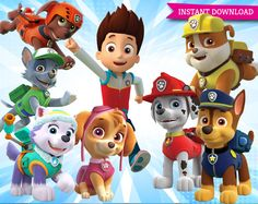 Paw Patrol Clipart Printable Pictures - Transparent Background Images - High definition 300 dpi PNG Photos, Invitations, commercial use Rubble Paw Patrol, Paw Patrol Toys, Paw Patrol Cake, Paw Patrol Party, First Birthday Parties, First Birthdays, Birthday Ideas, Paw Patrol Clipart, Paw Patrol Decorations