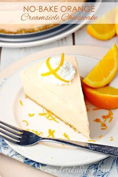 No-Bake Orange Creamsicle Cheesecake Recipe -- Perfect for those summer days when it's too hot to cook, this creamy orange desserts is made with Jello, cream cheese and whipped cream, all on a sweet graham cracker crust. #nobake #orange #cheesecake #desserts #recipes Easy Cheesecake Recipes, Cheesecake Desserts, Mini Desserts, Best Dessert Recipes, No Bake Desserts, Easy Desserts, Delicious Desserts, Christmas Desserts, Dinner Recipes