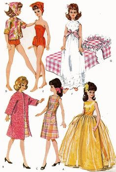 Vintage Doll Clothes PATTERN 6987 for 12 inch Tammy Miss Debutante Jan Tassy