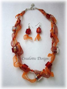 Orange necklace and earring set made of hemp organza by crealotte, $30.00