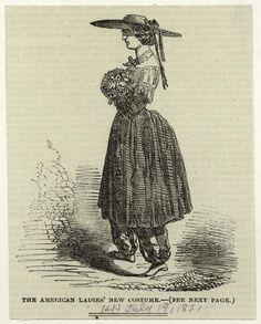 Amelia Bloomer (1818-1894), bloomer-costume; wood engraving, London, 1869
