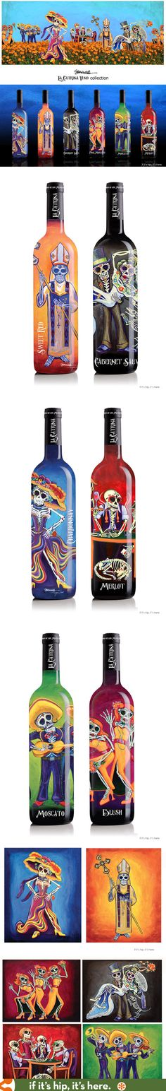 LA Catrina Vino Wine Bottles feature beautiful and original Retablo or Day of The Dead artwork by Sean Wells.