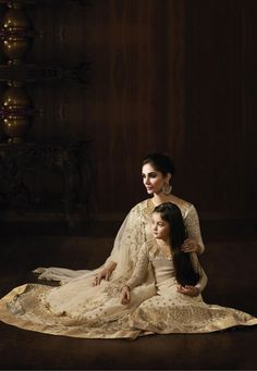 """""""A #girl without braids is like a mountain without waterfalls."""" Cream #Color Designer Net & Brocade #Mother #Daughter Anarkali Dress Suits"""