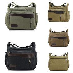 Retro Men Canvas Phone Bags Sack Women Single Shoulder Zippered Document Package #Unbranded