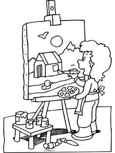 Kleurplaat Schilderij - schilderen - Kunstenaar - Kleurplaten.nl