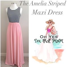"❣LARGE - The Amelia Stripped Maxi This listing is for the size LARGE!! ▶️Measurements: dress size 12-14, Bust 38-40"".  Who doesn't love a good Maxi dress. Perfect for date night, beach vacations or lounging with your girlfriends with a glass of wine. You may directly purchase this listing! If you want it purchase & add items using the bundle button. No need to tag me!Don't forget 20% off bundles!  Made of 96% polyester, 4% spandex, length 58"" shoulder to hem. Made in the USA! Effortless…"