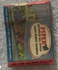 Vintage Piper Airplane Ad Matchbook Cover #Piper