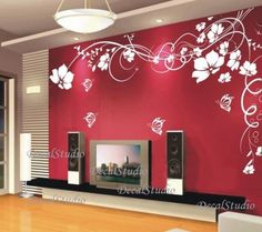 Abstract Flower And Erfly Wall Decal Sticker Bedroom Baby