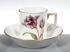 Cup & saucer, Flower painting 'tulips',  Meissen porcelain