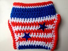 USA Stars and Stripes Crochet Baby Diaper Cover on Etsy, $10.00