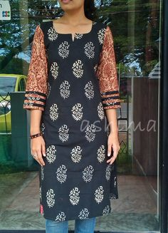 Printed Soft Cotton Kurta With Kalamkari Sleeve-Code:1009150 Price INR:790/- All sizes available. Free shipping to all courier destinations in India. Online payment through PayUMoney / PayPal
