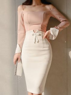 outfit nightclub Open Shoulder Patchwork Plain Roll-Up Sleeve Bodycon Dresses Offene Schulter Patchwork Plain Roll-Up Sleeve Bodycon Kleider Pencil Skirt Outfits, High Waisted Pencil Skirt, Pencil Skirts, Bandage Skirt, Women's Skirts, Pencil Dresses, Work Skirts, Mini Skirts, Casual Dresses