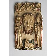 A mid-fifteenth-century alabaster carving depicting the soul of John the Baptist, symbolised by  his head, looking down at the lamb of God/Agnus Dei, a symbol of Christ and John's symbolic attribute; flanking are Saint Peter and Saint Thomas à Becket. (Aberdeen Art Gallery & Museums)