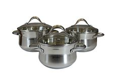 SMAKFEST 6 PC Stainless Steel 5 Ply Bottom Cookware Set Induction Compatible -- Visit the image link more details.-It is an affiliate link to Amazon.