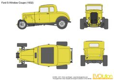 Ford 5-Window Coupe Ford 1932, 1932 Ford Roadster, Paper Car, Combi Vw, Ford Parts, Pedal Cars, Ford Gt, Custom Cars, Vintage Cars