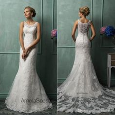 2014 Amelia Sposa Wedding Dresses With Scoop Sheer Back Covered Button Mermaid Court Train Lace New Hot Custom Glamorous Church Bridal Gowns