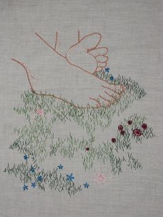 Meagan Ileana Embroidery - Grass Between My Toes Embroidery Applique, Cross Stitch Embroidery, Embroidery Patterns, Machine Embroidery, Textiles, Art Textile, Fabric Art, Hand Stitching, Needlework