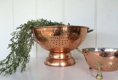 2 FRENCH COPPER COLANDER Strainer Large Set by kitncaboodlevintage