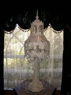 vintage ornate fancy metal crystal prisms slag glass chandelier table lamp decor ebay