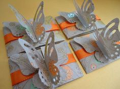Butterfly card in browns and oranges. For birthday or to offer as a little gift. Adaptable for Party Children invitaion.