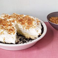 This twist on a diner classic features a chocolate crust. Coconut stars in the crust, filling, and topping. Toasting the coconut topping gives it a rich, nutty flavor and crunchy texture. Chocolate Wafer Cookies, Chocolate Wafers, Coconut Cookies, Tart Recipes, Dessert Recipes, Sweet Recipes, Best Coconut Cream Pie, Icebox Pie, Thanksgiving Pies