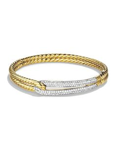 Labyrinth Single-Loop Bracelet with Diamonds in Gold by David Yurman at Neiman Marcus.