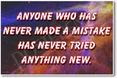 Anyone Who Has Never Made a Mistake Space Science new classroom motivational educational poster teacher student learning visual aid wall art print gift positive inspirational school