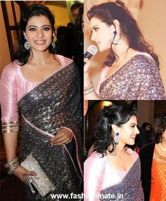 Kajol in Shehla Khan saree at Pratham UK Gala Trendy Sarees, Stylish Sarees, Fancy Sarees, Silk Sarees, Kajol Saree, Bollywood Saree, Bollywood Actress, Saree Blouse Neck Designs, Bridal Blouse Designs