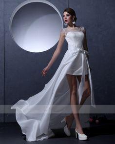 Luxuriant Sheath/Column Bateau Short/Mini Taffeta Wedding Dress