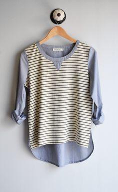 Color Block Stripe Shirt