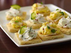 Tea Sandwich Flats with goat cheese, egg salad, or veggies.