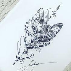 17 Best Ideas For Tattoo Cat Dotwork Cat tattoo – Fashion Tattoos Bild Tattoos, Leg Tattoos, Body Art Tattoos, Sleeve Tattoos, Cat Tattoo Designs, Design Tattoo, Tattoos For Lovers, Tattoos For Women, Dotwork Tattoo Mandala